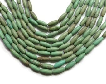 Green Turquoise Magnesite - Oval or Rice Bead - 16mm x 6mm - Full Strand - 24 beads - shades of green