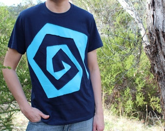 Males Square Spiral Navy and Blue Psy T-shirt