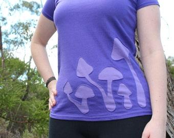 Females Magic Mushroom Forest Tshirt Purple Psy