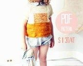The Sunrise Knit Sweater Pattern Small Girls Knitting Pattern Color Block Textured Modern Pullover
