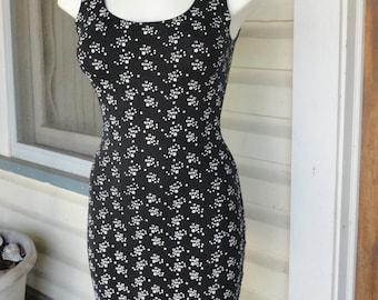 Black and White Mini Stretch Tank Dress 1990s Party Dress Clubwear Dress Body Con