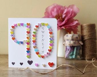 90th Birthday Card - Handmade Age 90 Card - Personalised - Ninety - Ninetieth Birthday - Personalized - Age 90-  Mum - Dad - BHA90