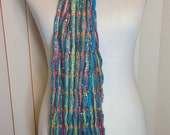Vintage Turquoise and Metallic Gold Extra Long Stripped Scarf with Fringe 72 Inches Long and 6 Inches Wide Previously 16 Dollars ON SALE
