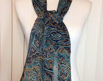 Vintage Long Sheer Green Paisley Scarf 61 Inches Long 13.5 Inches Wide Previously Fourteen Dollars ON SALE