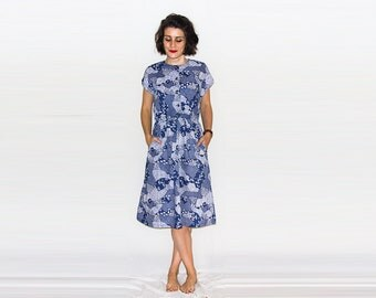 Vintage Blue & White Printed Pattern Dress