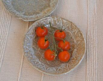 Misty beige lace ceramic dish, Tapas dish, Trinket bowls with lace pattern -  handbuilt stoneware