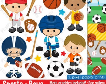Sport Boys - Clip art and Digital Paper Set - Sports clipart