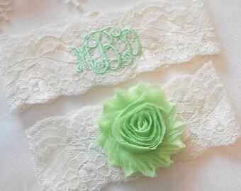 MONOGRAMMED Wedding Garter Set or Single MONOGRAMMED Bridal Garter Vintage Inspired Floral Stretch Lace Bridal Garter Set