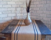 Burlap Table Runner with Navy Blue Double Stripes 10 x 48 - 12 x 48 - 14 x 48 - 16 x 48 - 18 x 48 French Country Runner - Grain Sack Runner