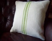 Burlap Grain Sack Style Pillow Cover with Hand Painted Stripes in Sizes 16 x 16 and 24 x 24 - Striped Decorative Pillow - Cottage Pillow