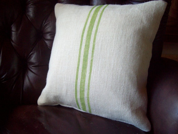 Burlap Grain Sack Style Pillow Cover with Hand Painted Stripes in Sizes 16 x 16 and 20 x 20 - Striped Decorative Pillow - Cottage Pillow