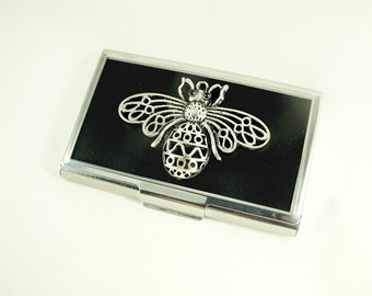 Credit Card Holder, Business Card Holder, Giant Silver Bee  Mens  Womens Gift  Handmade