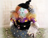 Halloween PINCUSHION Witch Fall Autumn Handmade Handcrafted Art Doll CharlotteStyle Soft Sculpture