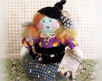 Halloween PINCUSHION Witch Fall Autumn Handmade Handcrafted Art Doll CharlotteStyle Soft Sculpture