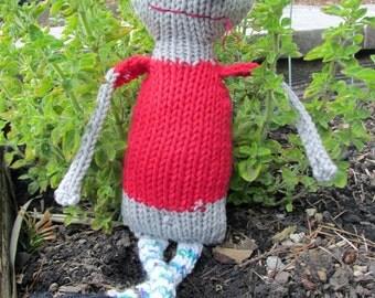 BEWARE Zombie Carl hand knit soft toy friend - 100% cotton plush original monster friend, featured in STUFFED magazine!