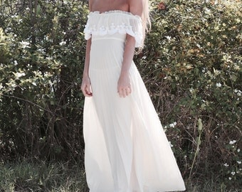 "Off The Shoulder Bohemian Bridal Dress, Lace Wedding Gown, Vintage Inspired Wedding Dress - ""Maya"""