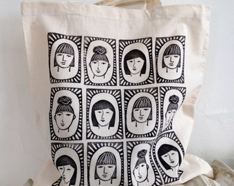 Three Sisters Block-Printed Cotton Tote Bag