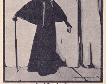 """William Nicholson """"Sarah Bernhardt"""" Postcard -- 1957, Izogiz Publ. Condition 9/10"""