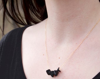 Hand Sculpted Polymer Clay Petals Necklace Basic Black Valentines Gift Idea For Her