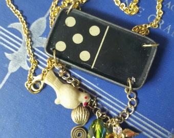 "RECYCLED JEWELRY--Antique Tin Advertising ""Domino"" Necklace"