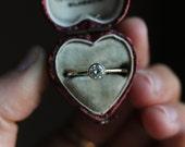 Moissanite Engagement Ring, Handmade Engagement Ring, Yellow Gold Ring, Thin Gold Ring, Alternative Engagement Ring, Handmade Wedding Ring.