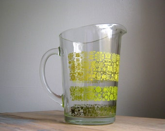 Vintage Floral Glass Pitcher, Yellow and Green