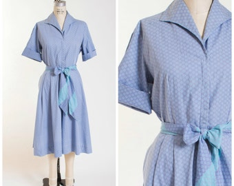 1950s Vintage Split Skirt Dress Printed Blue Cotton Vintage 50s Shirtwaist Pant Dress with Zip Front and Matching Waist Tie Size Large