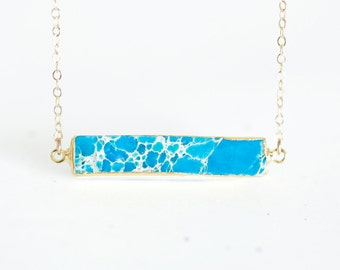 Turquoise Blue Druzy Bar Necklace - bar shaped bezel set natural stone in aqua blue gold necklace