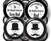 2 Fathers Day, Digital Collage Sheet, Bottle Cap Images, 1 Inch Circles, Instant Digital Download, Black and White (No.1) Dad, Step Dad