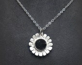 Dainty Sterling Silver Daisy Flower Pendant with Sparkly Black Quartz Druzy Stone Cabochon