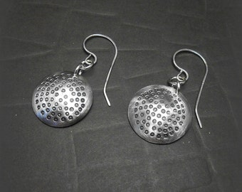 Sterling Silver Disk Earrings with Hand Stamped Dots