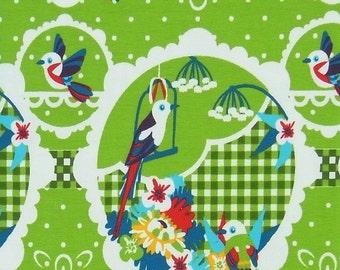 SALE! Tropical Bird cotton elastane single jersey in green, 1 m