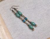 Paper bead earrings ~ shell beads ~ aqua teal blue green ~ matte gold ~