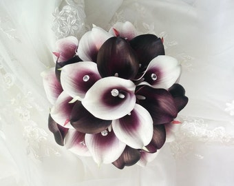 Silk wedding bouquet Natural Touch Purple Heart and Eggplant Plum Purple Calla Lilies with crystal Bouquet Gems Bridal Wedding Bouquet
