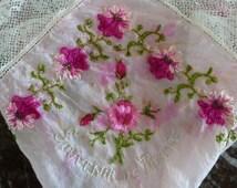 Pink Silk Handmade Lace Handkerchief - Souvenir de France *Not Perfect*