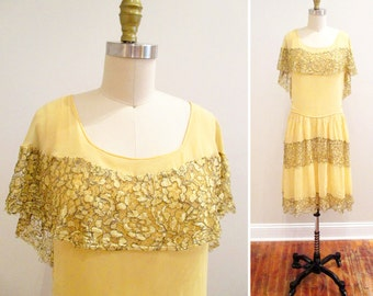 Vintage 1920s Dress | Buttercup Yellow Silk Chiffon and Lamé Lace 1920s Party Dress | size small - medium