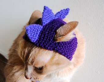 Dinosaur Cat Costume - Purple - Hand Knit Cat Hat - Cat Halloween Costume (READY TO SHIP)