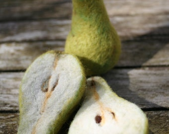 PEARS - Two Needle Felted Fruits of the Fall - Made by order