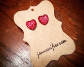 Red Sparkly Rhinestone Heart Earrings  - Hypoallergenic Nickel Free - Great for Sensitive Ears - Super Sparkly!