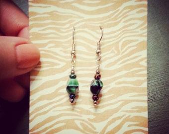 Dark Green Czech Glass Crystal Earrings - Clearance Sale (Item ID # 23)