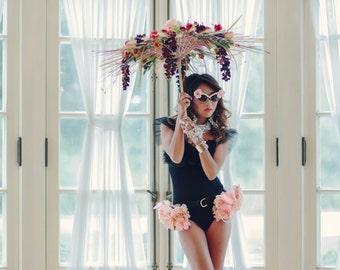 Rose Peplum Leather Belt with Pearl Strands, floral belt, vintage belt, rose belt, marie Antoinette,  vintage rose, pink flowers, black belt