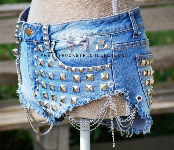 Custom Distressed High Waisted Studded Denim Shorts with Chains