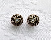 "Fancy Gold Tone and Clear Jewel Victorian Wedding Pair Plugs Gauges Size: 0g (8mm), 00g (10mm), 1/2"" (12mm)"