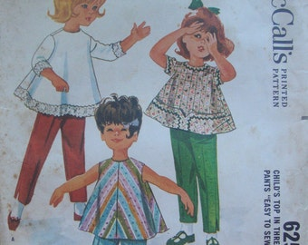 Vintage McCall's Sewing Pattern 6253 | Child's Top and Pants | Size 1 | 1962 | Helen Lee Designed