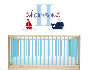 Whale Wall Decal Hampton Decal nursery Sailboat wall sticker Girls Wall Decal Nautical Vinyl Art Bathroom Decal Boys Name Whale Boat decal