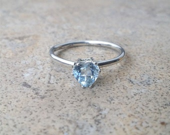 Aquamarine Ring, Genuine Aquamarine Heart Ring, March Birthstone, Modern-day stone for Brides