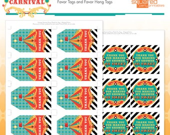 Circus Baby Shower Favor Tags - Cirque du Bebe Printable Thank You Tags - Vintage Carnival Baby Shower Printables - Instant Download