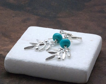 Olive Branch Earrings Sterling Silver with Blue Turquoise, Greek Statement Earrings, Silver Olive Goddess Athena Symbol, Greek Jewellery