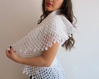 Bridal Bolero Shrug,Wedding Lace Bolero Jacket,White Lace Shrug Bolero,Of White Bridal Shoulders Cover,Crochet Shrug,Wedding Jacket Size S M