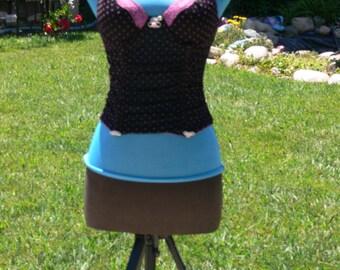 pink dot boned corset size small bust 34-36